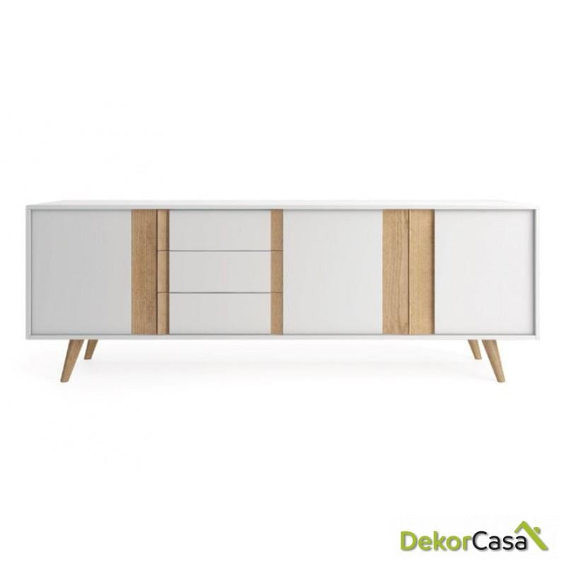 Aparador lacado blanco mate conbinado con  madera natural 195 x47x77.5 H .