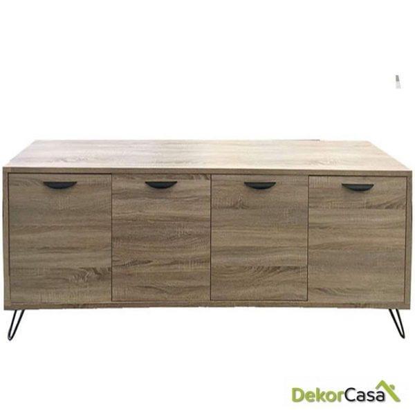 Aparador madera color roble  200 x 40 x 76