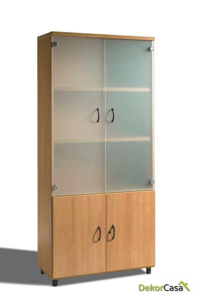 armario alto con puertas abajo y puertas cristal arriba