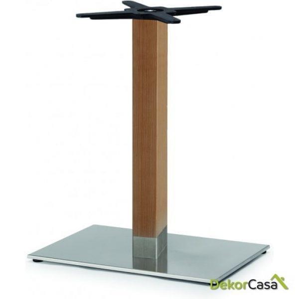 Base de mesa inox columna de madera