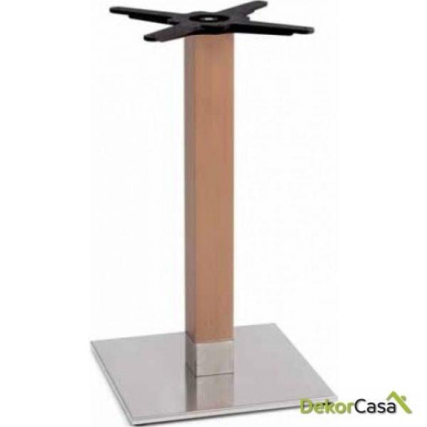 Base de mesa inox columna madera 40x40x73 cm