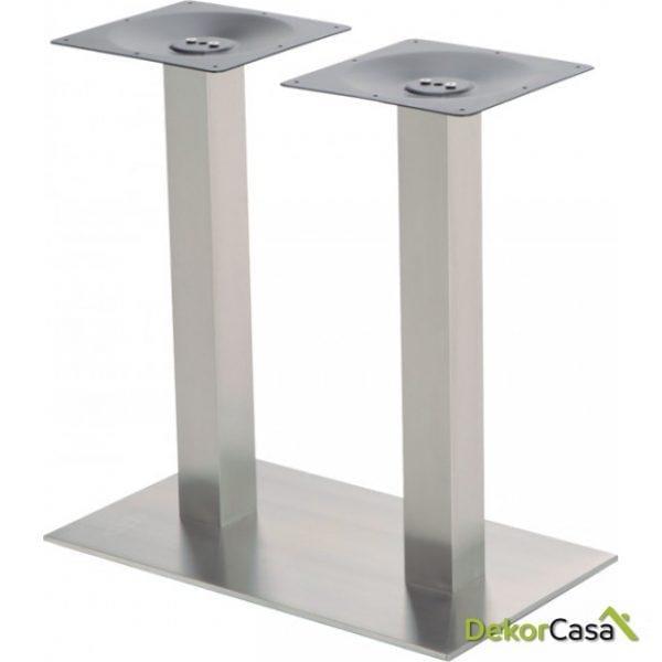 Base de mesa inox doble columna 80x80 mm