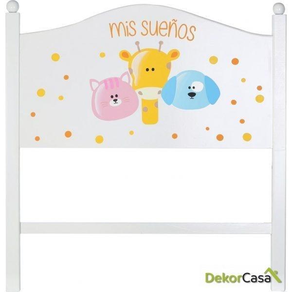"""CABECERO INFANTIL BLANCO """"FRIENDS"""" 90 X 4,50 X 93 CM"""