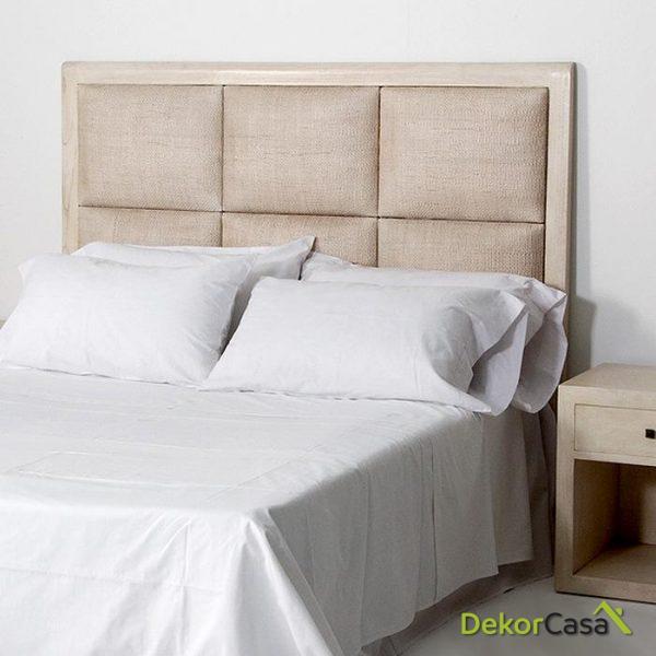 Cabecero Ratan y Madera Blanco/ gris/ Natural 162x9x137 cm