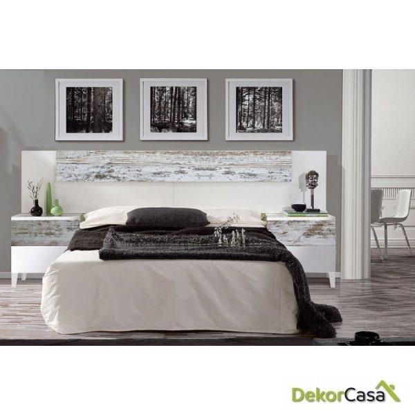 Cabezal + Mesitas 2 Cajones  Blanco Brillo / Vintage