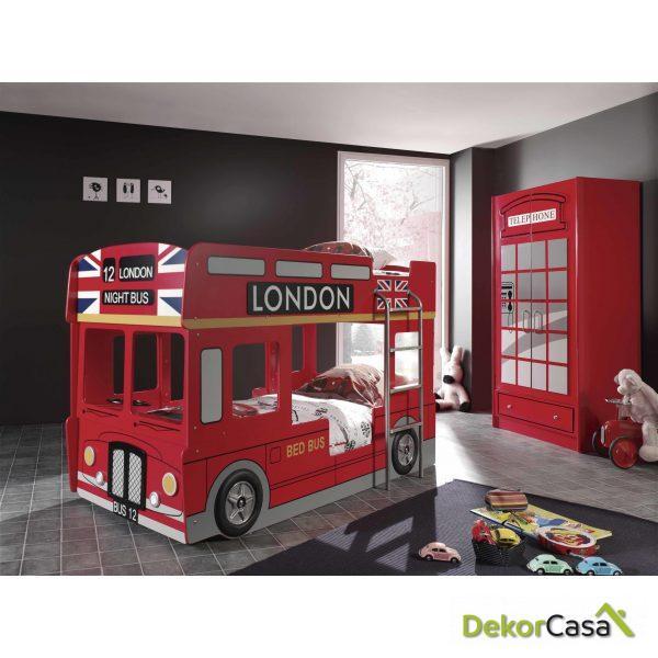 Cama Litera juvenil Autobus Londres 215 x 120 x 132 cm