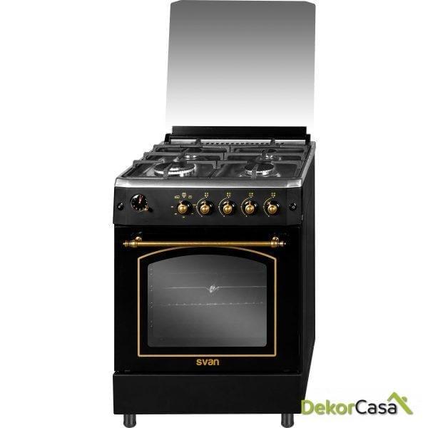 Cocina 4 fuegos Rústica Negra 60 x 60cm GAS BUTANO svan SVK6601RN