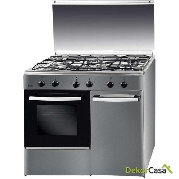 Cocina 5 fuegos GAS BUTANO CON Portabombona Inox SVAN SVK9551GBI