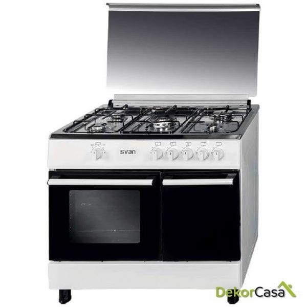 Cocina 5 fuegos Porta Bombonas Blanca 90 x 60cm svan SVK9560GB