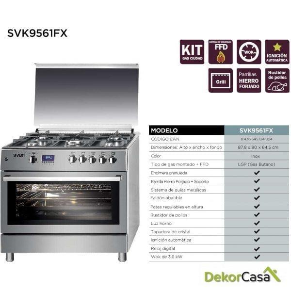 Cocina 5 fuegos Porta Bombonas Inox svan SVK9561FX