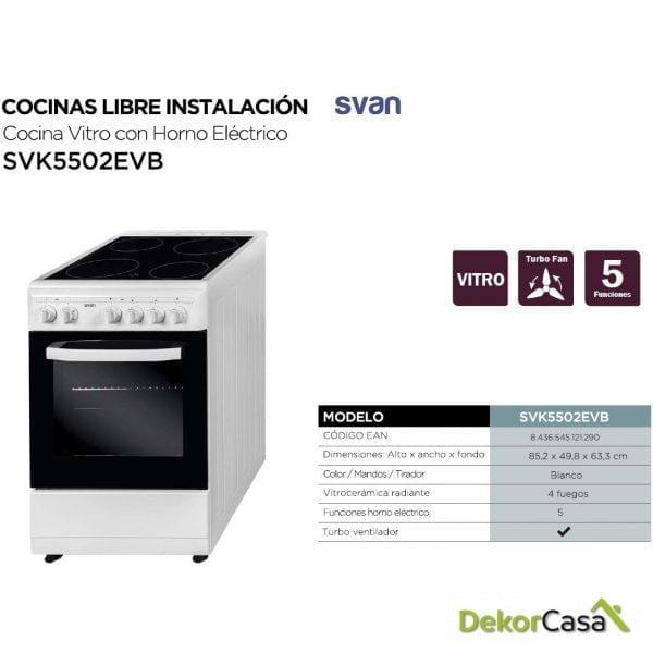 Cocina Blanca Vitroceramica y horno  Eléctrico svan SVK5502EVB