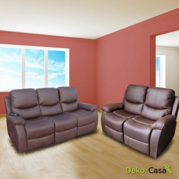 Conjunto 3+2 de sofás de masaje Vibroluxe ECO-8200 Marrón ECO-DE®