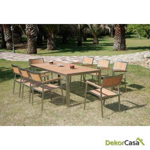Conjunto  Algaida mesa y 6 sillas 200 x 90 x 75 cm