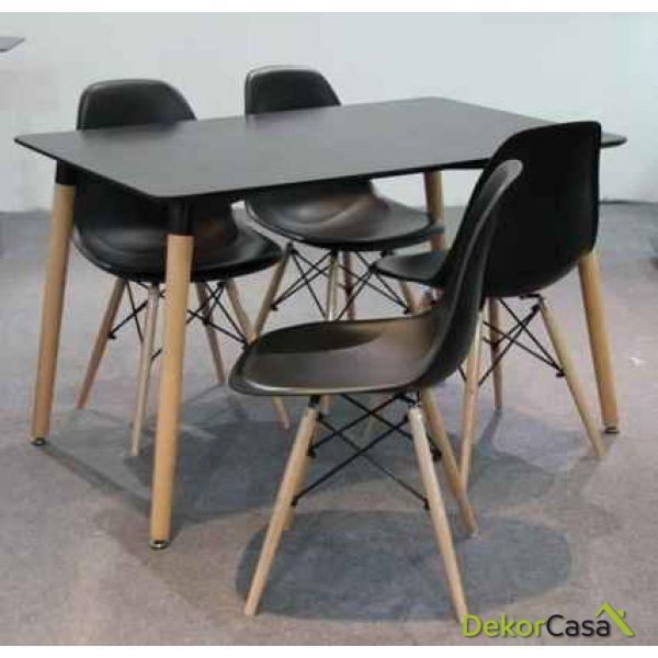 Conjunto Mesa Eames 120 x 80 cm. + 4 Silla