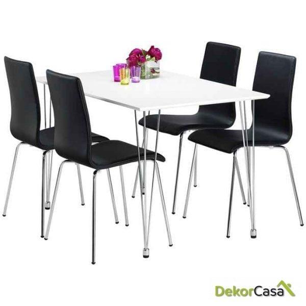 Conjunto Mesa Tous lacada + 4 sillas tapizadas