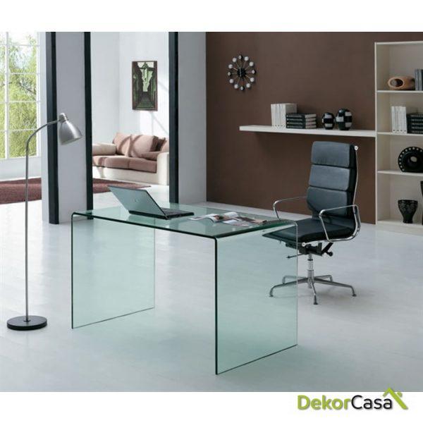 escritorio cristal curvado artico transparente