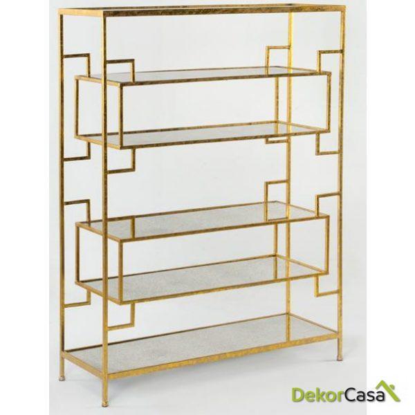 Estantería osaze Metal Oro envejecido y Espejo 94x33x125 cm