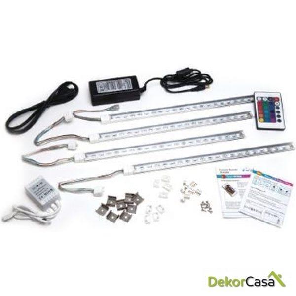 Kit completo con 4 Barras Rígidas Transparentes de LED 5050 SMD RGB