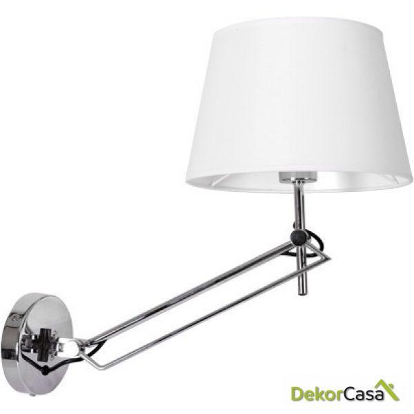 Lámpara aplique de pared flexo cromo pantalla
