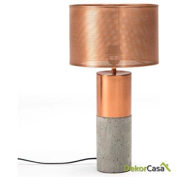 LAMPARA DE SOBREMESA 11X40 CEMENTO/METAL COBRE CON PANTALLA (28X19)