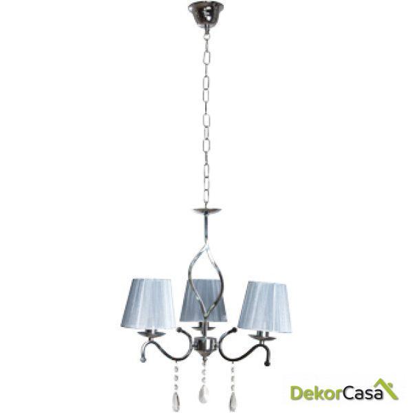 Lámpara de techo colgante 3 brazos cromo pantallas blancas