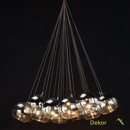 Lámpara de Techo de cristal 10 bolas 40x80cm
