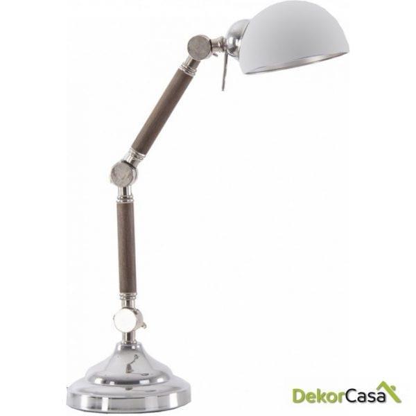 LAMPARA FLEXO MADERA CROMO