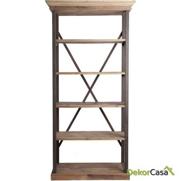 libreria lidia madera pino y metal 108x49x220 cm