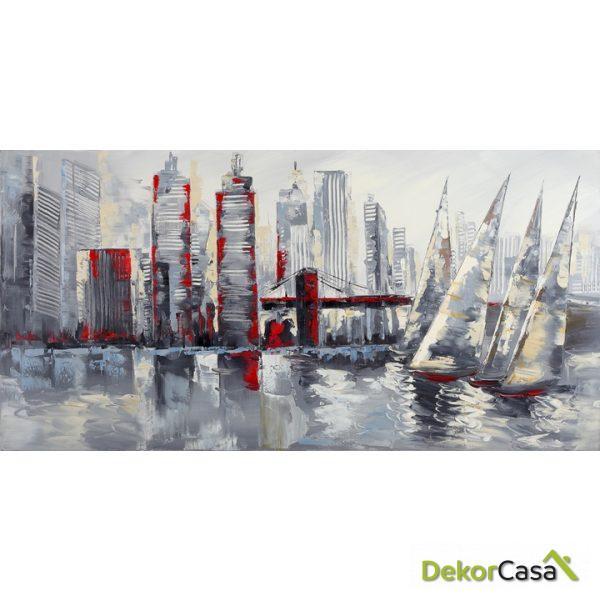 Lienzo Barcos de Vela en Ciudad