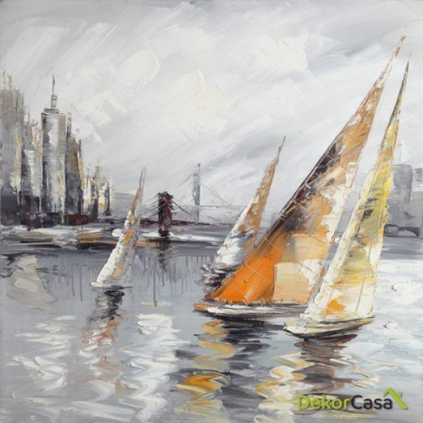 Lienzo Barcos de Vela Naranjas