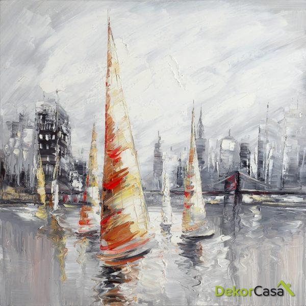Lienzo Barcos de Vela Rojos