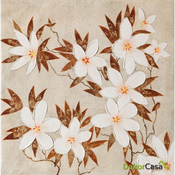 Lienzo Flores Blancas y Marrones 2