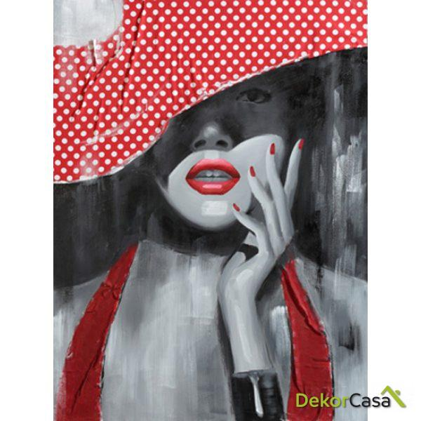 Lienzo Mujer Rojo y Gris