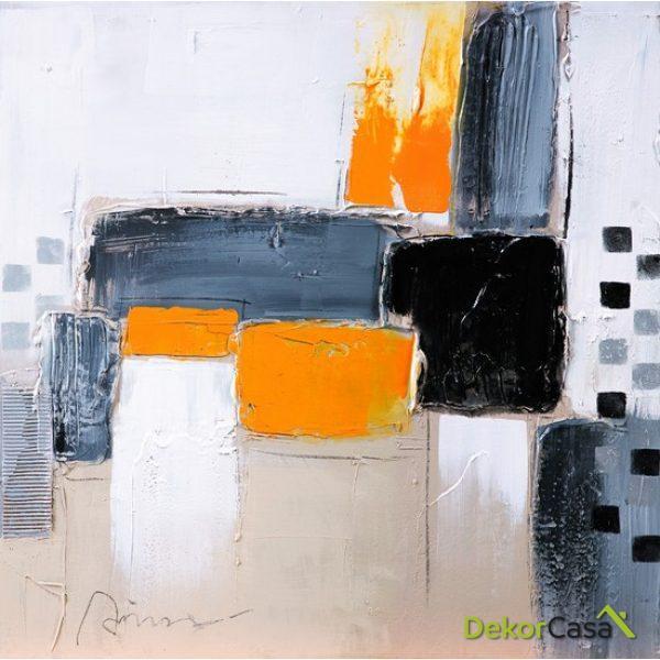 Lienzo Pintura Naranja Abstracta