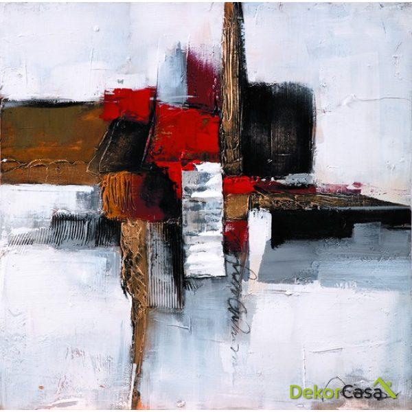 Lienzo Pintura Roja Abstracta
