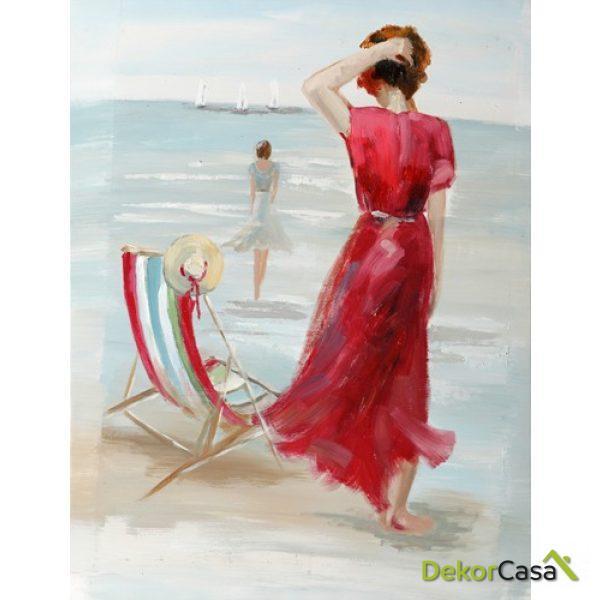 Lienzo Vestido Rojo en Playa