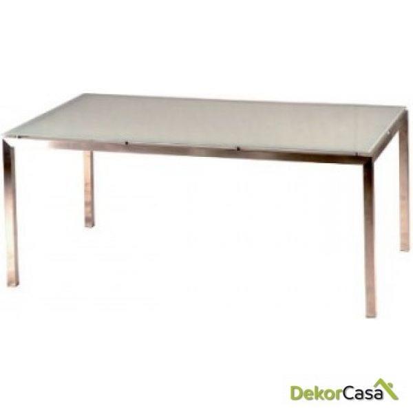 Mesa acero inox y cristal Style 160x90