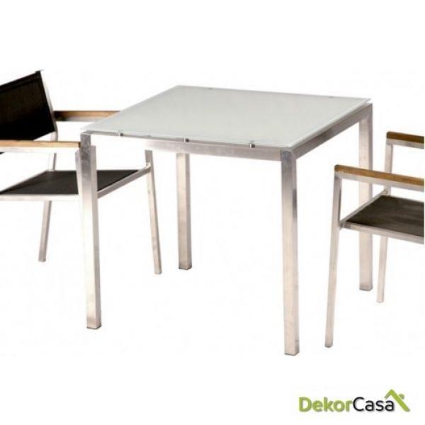 Mesa acero inox y cristal Style 80x80
