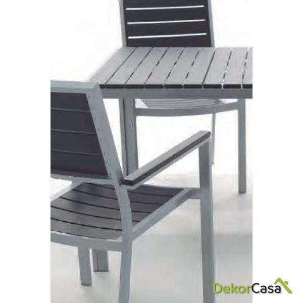 Mesa aluminio lamas imitacion madera Kind