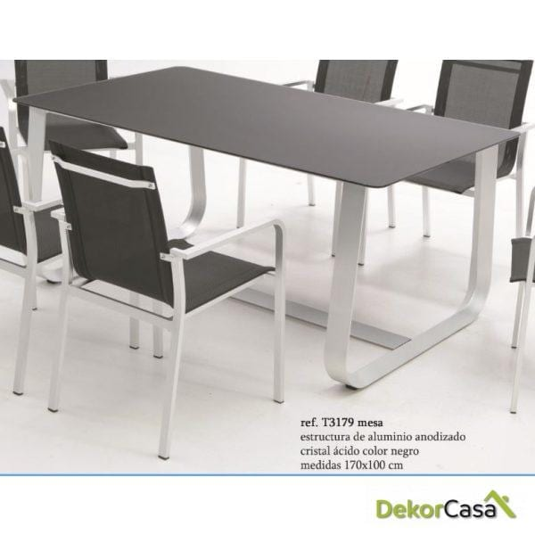 mesa aluminio sobre cristal al acido santorini  170*100