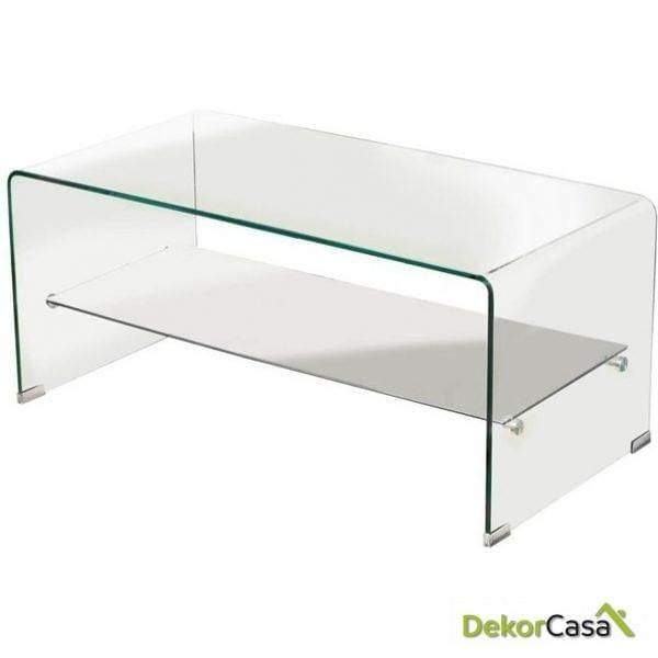 Mesa auxiliar baja cristal 110 x 55 x 35 cm