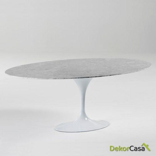 Mesa Comedor artemisa Aluminio y Mármol Blanco 200x120x73 cm