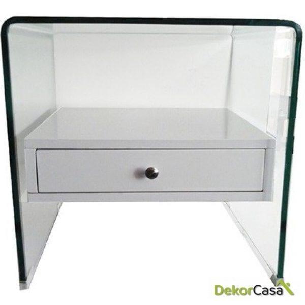 Mesa cristal curvado cajón blanco 50x45 cms
