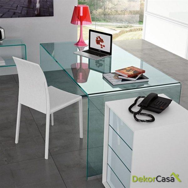 Mesa cristal curvado una pieza 150 cm.
