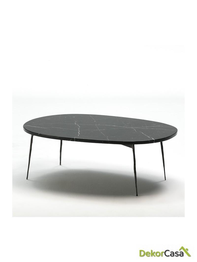 mesa de centro 100x70x35 metal marmol negro