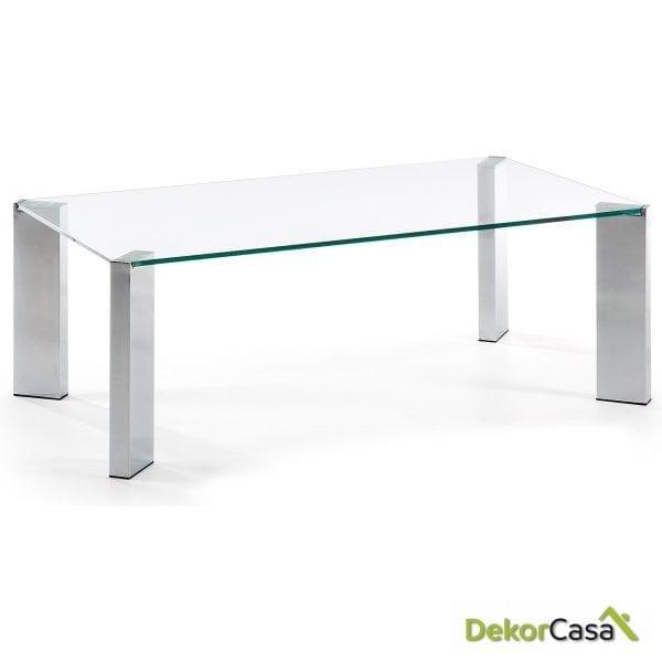 MESA DE CENTRO CORNER Cromada Cristal Transparente