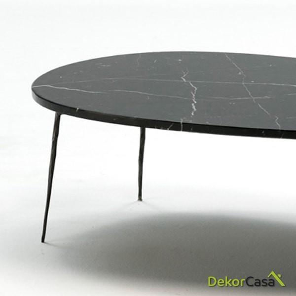 Mesa de Centro 100x70x35 Metal/Marmol Negro