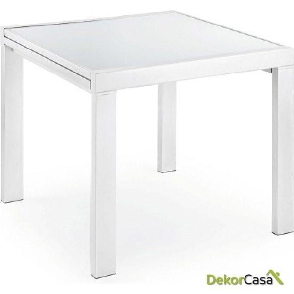 MESA DE COMEDOR OREGON Exten Epoxyblanco Cristal Blanco