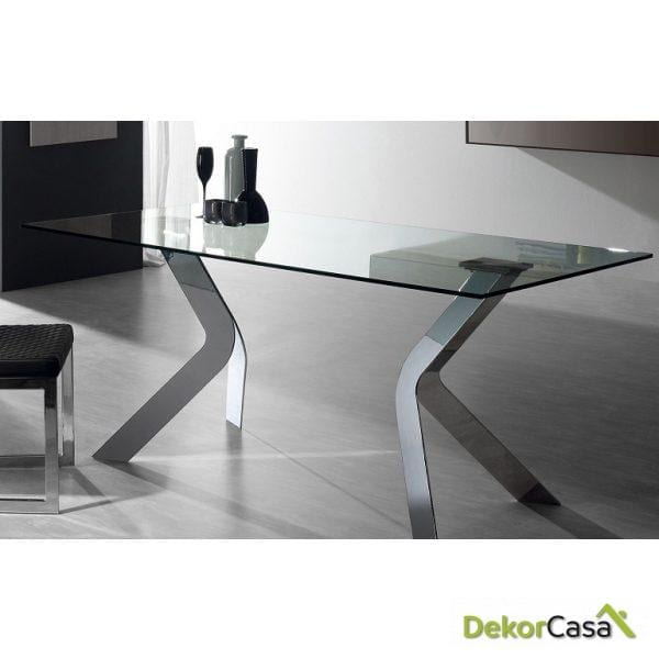 MESA DE COMEDOR VIRGINIA 150x90 Cromado Cristal Transparente