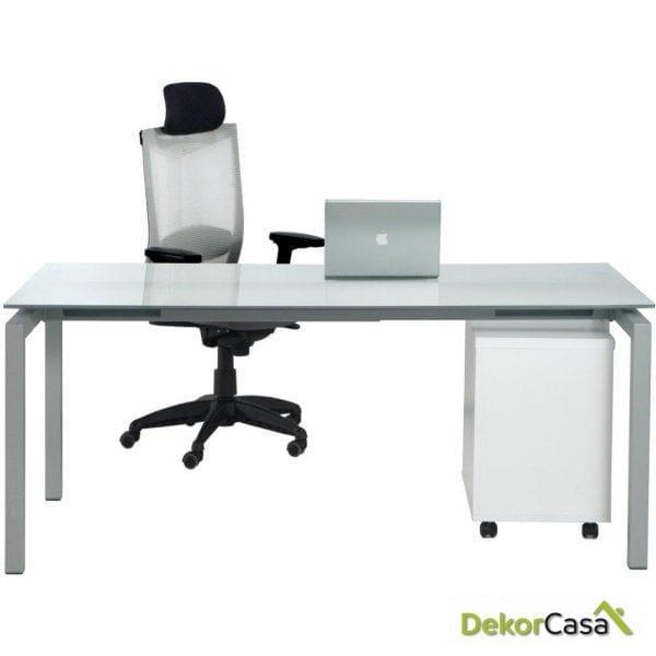 Mesa de despacho rectangular de cristal Euro 5000